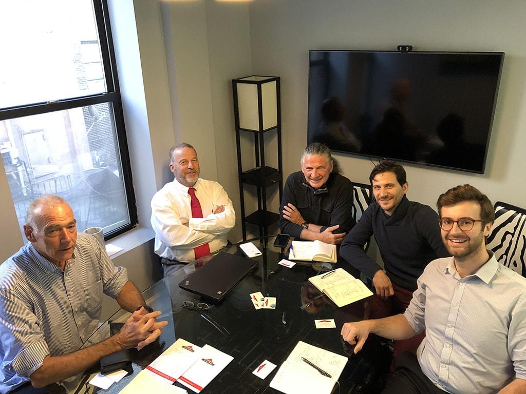 Photos avec nos nouveaux associés américains dans leurs bureaux de New York lors de la création de nos filiales américaines de New York et Miami.